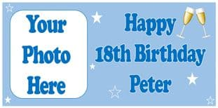 Large Blue Photo Champagne Birthday Banner