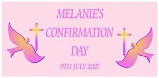 Large Pink Cross & Dove Confirmation Banner