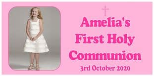 Large Pink Photo First Communion Banner