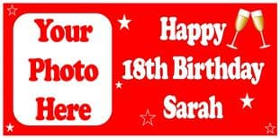 Large Red Champagne Glasses Photo Birthday Banner