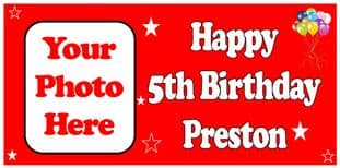 Large Red Photo Birthday Banner