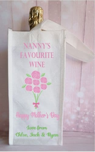 Mother's Day Bunch of Flowers Bottle Bag