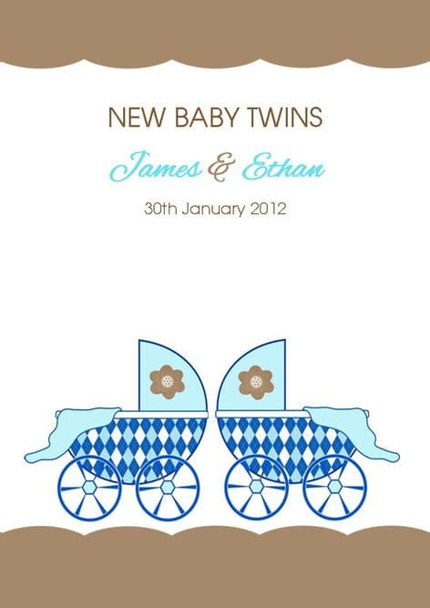 New Baby Twins Boys Card Design 1