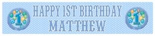 Personalised 1st Birthday Blue Banner