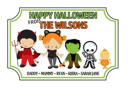 Personalised Acrylic Halloween Family Plaque Design 1