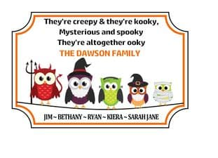 Personalised Acrylic Halloween Family Plaque Design 2