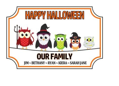 Personalised Acrylic Halloween Family Plaque Design 3