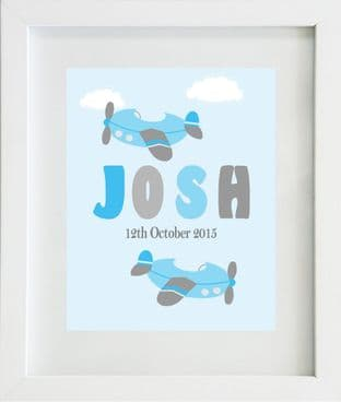 Personalised Aeorplane Blue Grey Name Print
