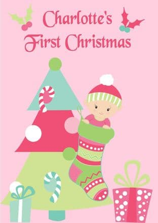 Personalised Baby Girl First Christmas Card