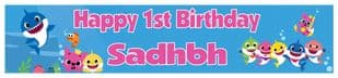 Personalised Baby Shark Banner Pink Text