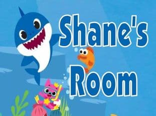Personalised  Baby Shark Blue Text Door Plaque