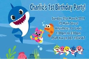 Personalised Baby Shark Invitations Blue Text