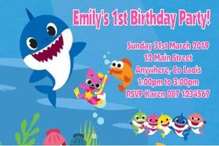 Personalised Baby Shark Invitations Pink Text