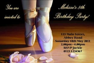 Personalised Ballet Theme Invitations Design 1