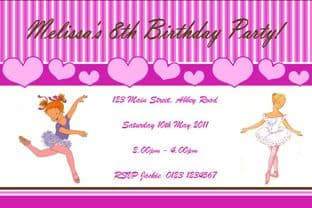 Personalised Ballet Theme Invitations Design 2