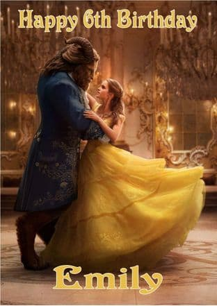 Personalised Beauty and the Beast Movie Birthday Card