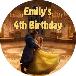 Personalised Beauty and the Beast Party Stickers Design 2