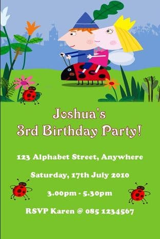 Personalised Ben and Holly Invitations Design 1