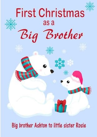 Personalised Big Brother to Little Sister Christmas Card Design 2