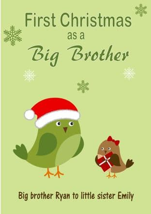 Personalised Big Brother to Little Sister Christmas Card Design 3