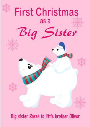 Personalised Big Sister to Little Brother Christmas Card Design 1