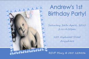 Personalised Birthday Photo Invitation - Boy Design 1