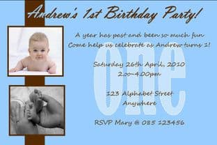 Personalised Birthday Photo Invitation - Boy Design 2