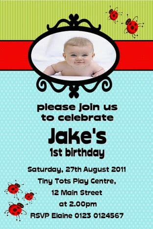 Personalised Birthday Photo Invitations - Boy Design 10