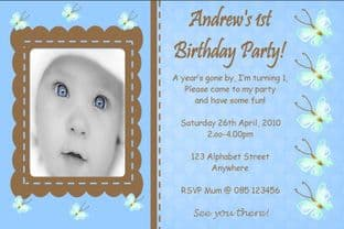 Personalised Birthday Photo Invitations - Boy Design 5