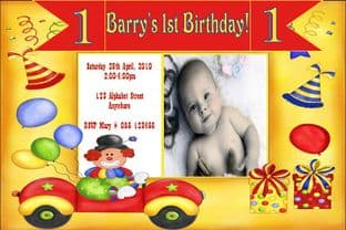 Personalised Birthday Photo Invitations - Boy Design 6