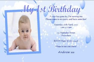 Personalised Birthday Photo Invitations - Boy Design 8