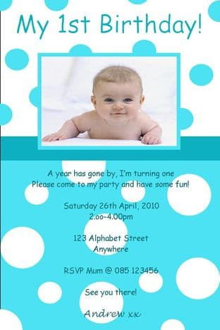 Personalised Birthday Photo Invitations - Boy Design 9