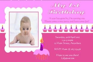 Personalised Birthday Photo Invitations - Girl Design 10