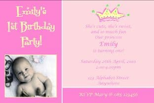 Personalised Birthday Photo Invitations - Girl Design 12