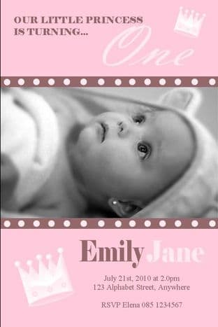 Personalised Birthday Photo Invitations - Girl Design 13