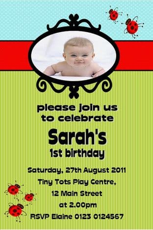 Personalised Birthday Photo Invitations - Girl Design 14