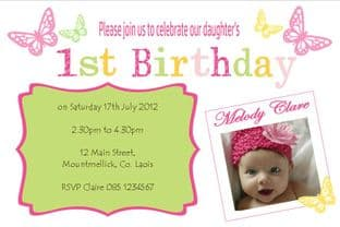 Personalised Birthday Photo Invitations - Girl Design 16