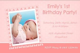 Personalised Birthday Photo Invitations - Girl Design 2