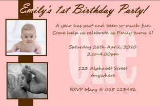 Personalised Birthday Photo Invitations - Girl Design 3