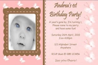Personalised Birthday Photo Invitations - Girl Design 5