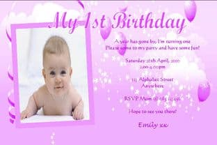 Personalised Birthday Photo Invitations - Girl Design 7