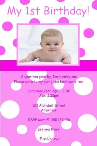 Personalised Birthday Photo Invitations - Girl Design 8