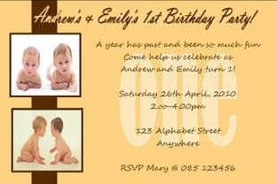 Personalised Birthday Photo Invitations - Twins Design 1