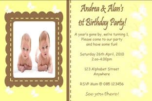 Personalised Birthday Photo Invitations - Twins Design 3