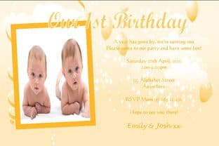 Personalised Birthday Photo Invitations - Twins Design 4
