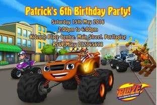 Personalised Blaze and the Monster Machines Invitations