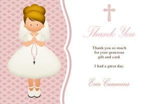 Personalised Blonde Girl Communion Thank You Card