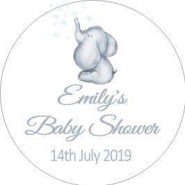 Personalised Blue Teddy Baby Shower Party Stickers