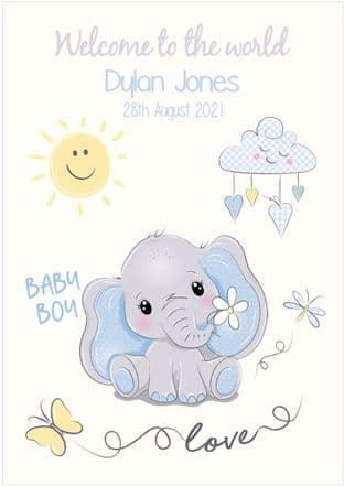 Personalised Blue Baby Elephant New Baby Card