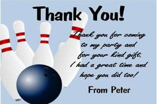 Personalised Blue Bowling Theme Thank You Card